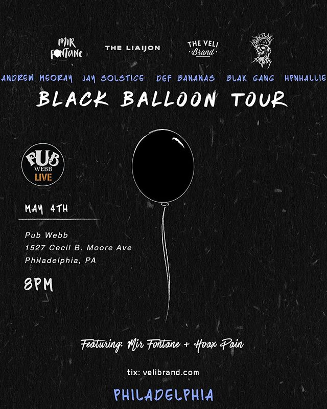It's gonna be 🔥🔥🔥🔥 at Pub Webb for the #BlackBaloonTour. Get ready for greatness from EVERYONE on the bill!