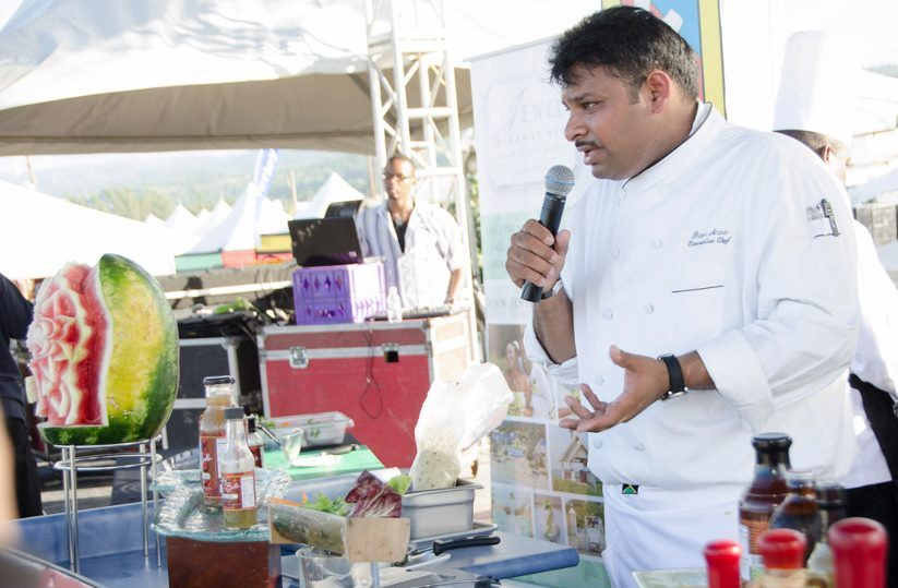 Chef Ravi Anne outlines the the ingredients to be used in his demonstration