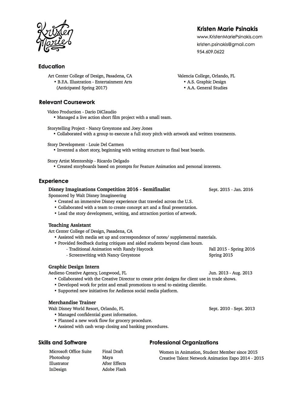 Kristen Psinakis Resume
