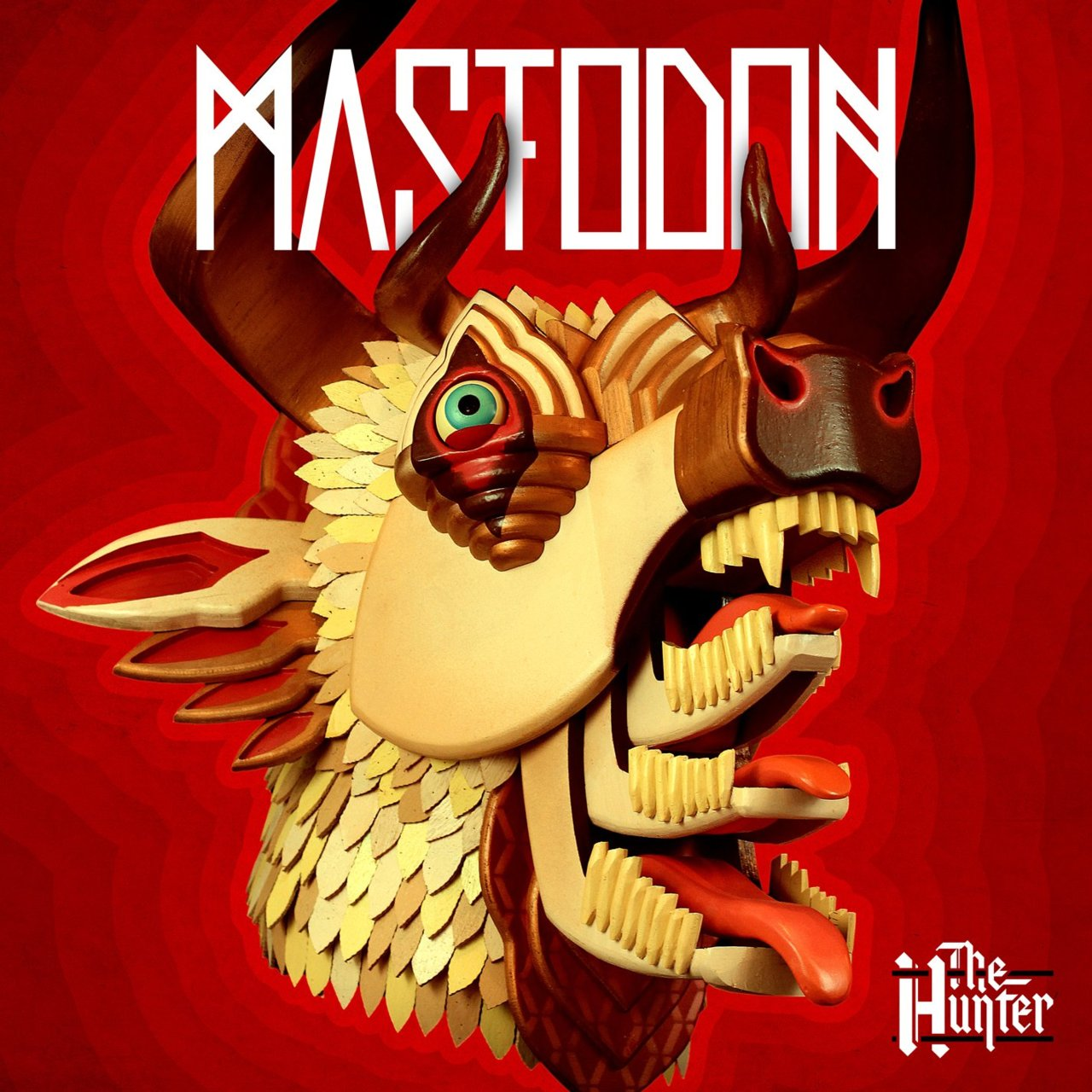 ON brand for this band,  Mastodon's new The Hunter cover art is a solid, structured vibrating art piece for a complex and bone-jarring structured music. Stunning heavy lifting.