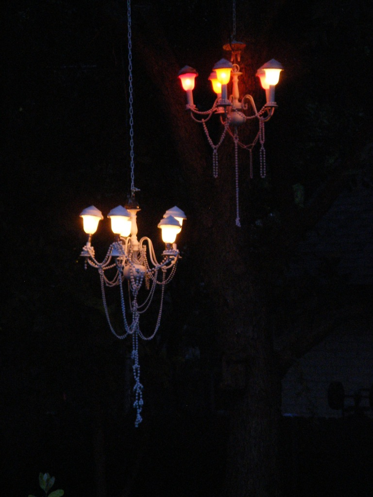 Night view of recycled chandelier