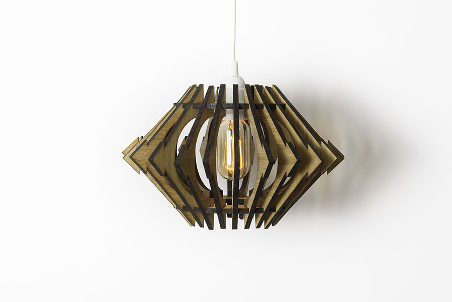 laser cut bamboo hanging fixture