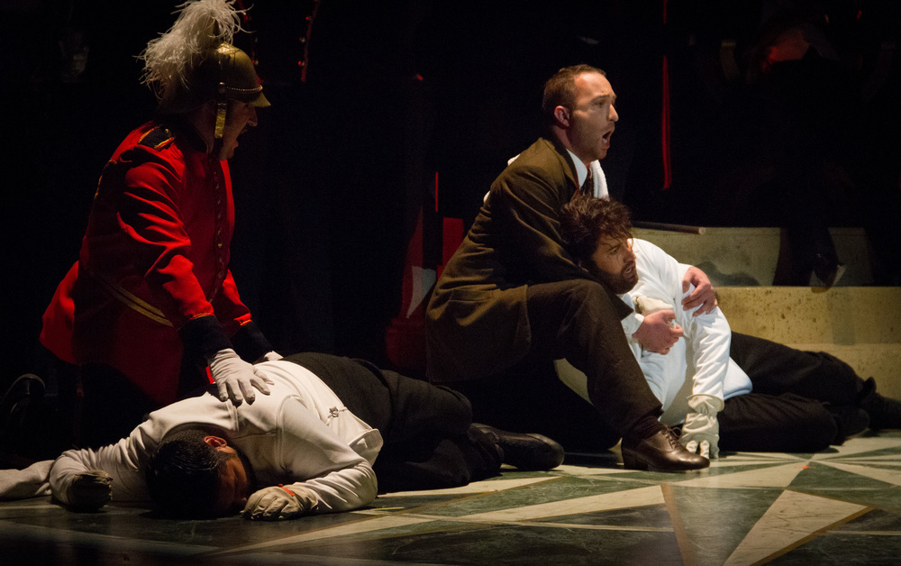 Tragedy. Laertes and Hamlet are dead, as are King Claudius and Queen Gertrude.