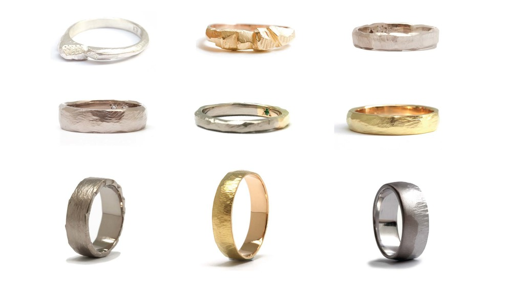 left to right top row: Peak ring, Adam's ring, Simon's Ring middle row: Steve's ring, AJ's ring, Gold band bottom row: Sean's ring, Rod's ring, Mark's ring