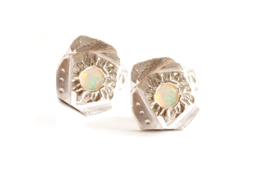Opal Moonlight Studs. Fine silver, sterling silver and solid Australian Opals. Available online.