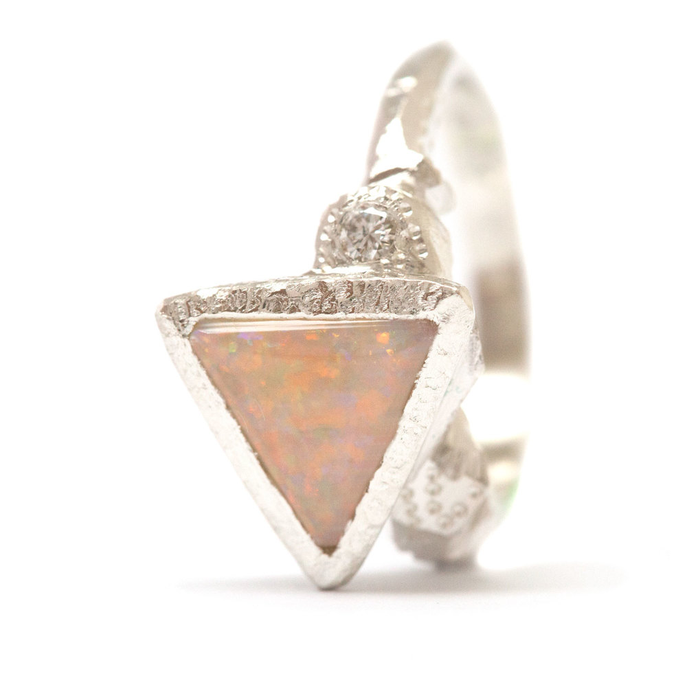 sterling silver, coober pedy opal, diamond