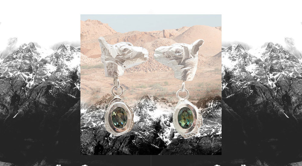 'The Showdown' earrings. Sterling silver and sapphires. Kim Victoria Wearne.