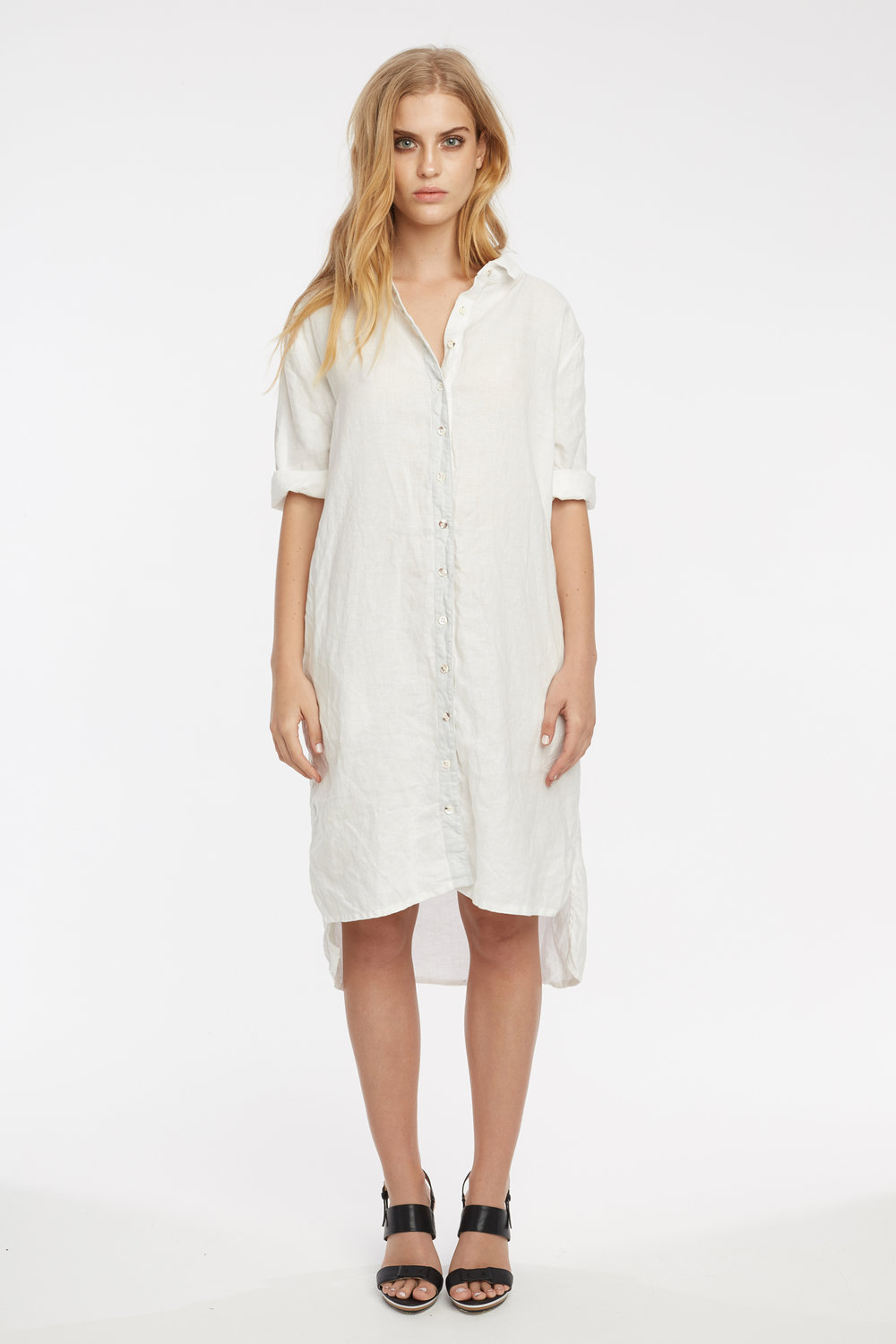 LIN SHIRT DRESS BLANC