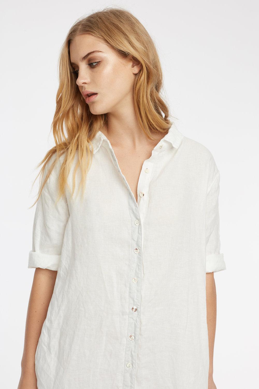 LIN SHIRT DRESS BLANC