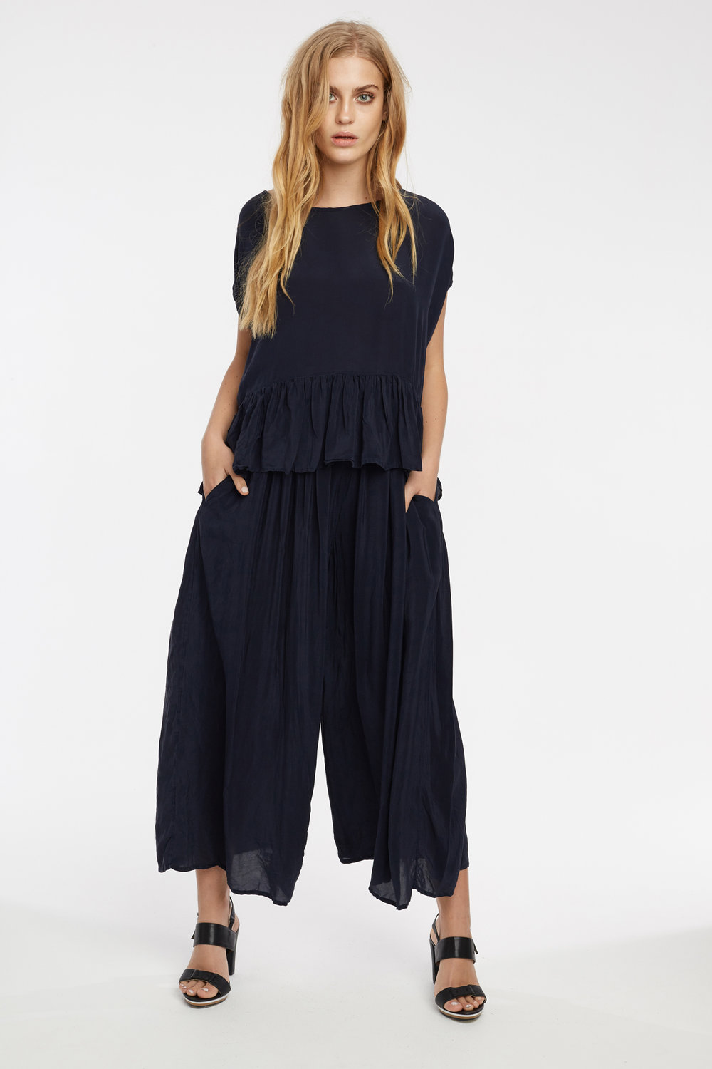 FEATHER TOP & GRUNDY CULOTTE DARK NAVY