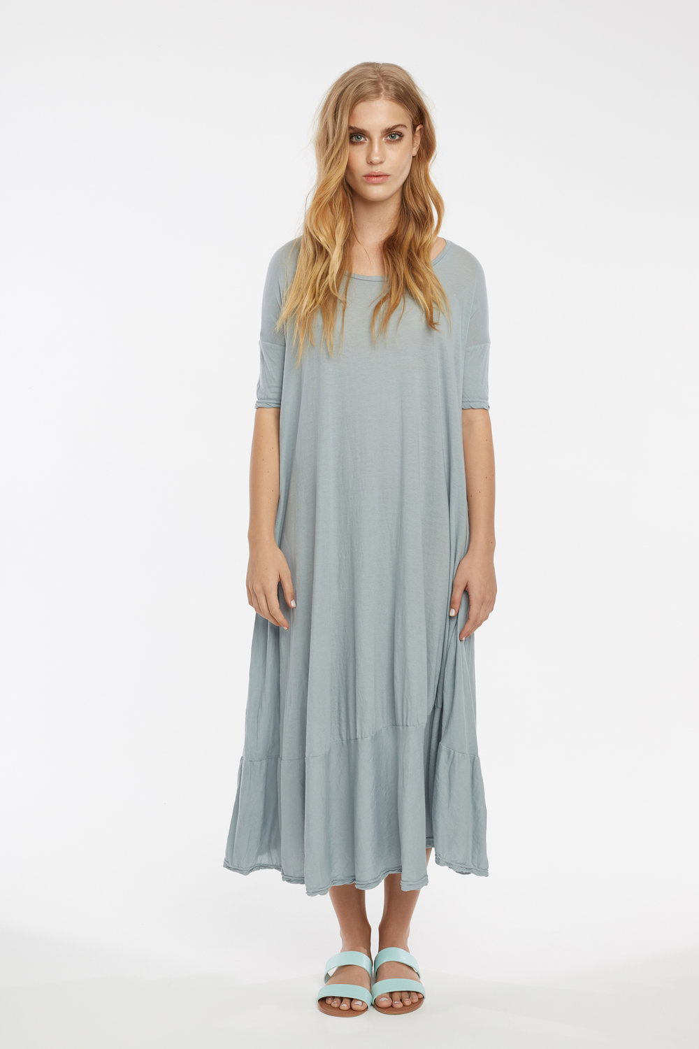 POP MIDI DRESS DOVE GREY