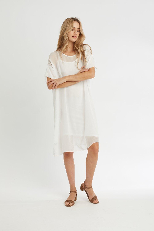 SLIP &REGI SHEER DRESS BLANC