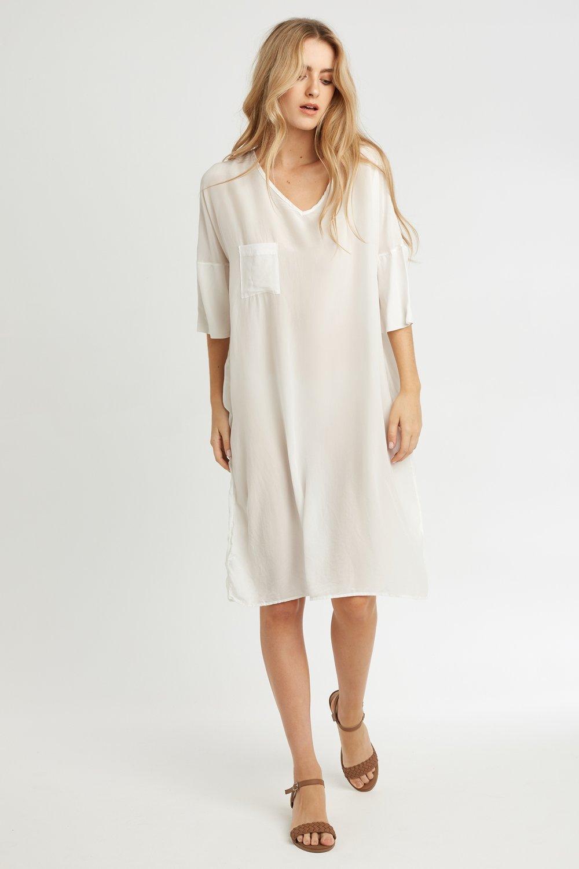 POCKET DRESS BLANC
