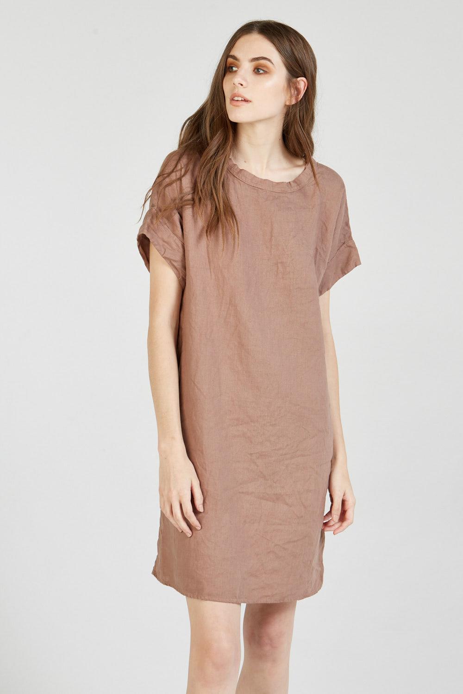 LINEN DRESS FUDGE BROWN