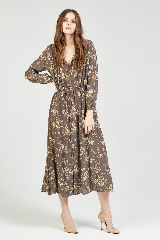 HEWEG LONG DRESS WOODSTOCK PRINT