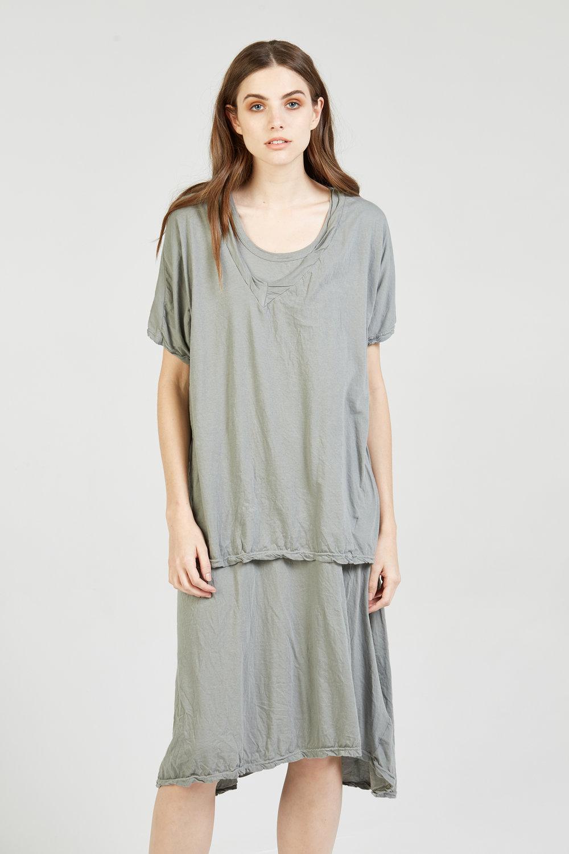 NATI DRESS & LOOSE V-NECK STEEL