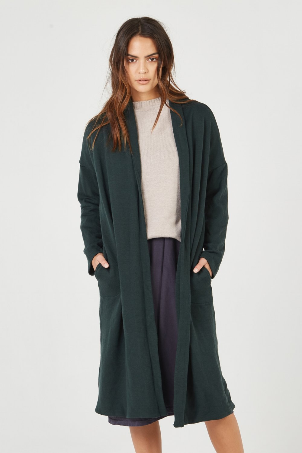 BOX STRAIGHT DRESS SMOKED CHARCOAL. LOOM CREW NECK OATMEAL. LUXE JACKET JUNIPER