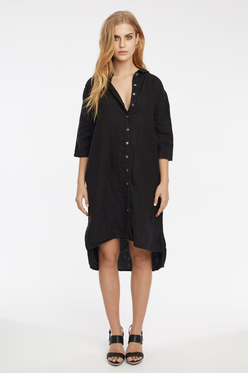 LIN SHIRT DRESS NOIR