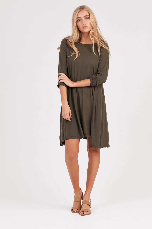 EASY LOOSE L/S DRESS OLIVE