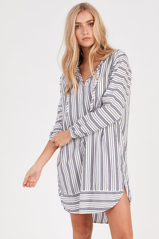 LOLA SHIRT DRESS STRIPE