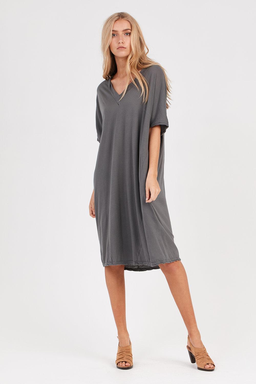 LOOSE V-NECK DRESS STARGAZE GREY