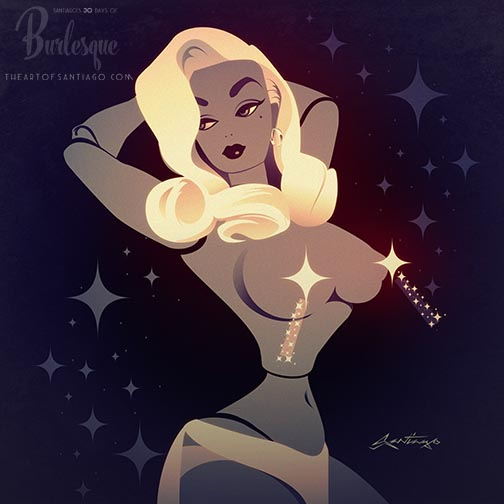 """Articulated Limbs"" (Burlesque Barbie) Day 5 of The 30 Days of Burlesque art project"