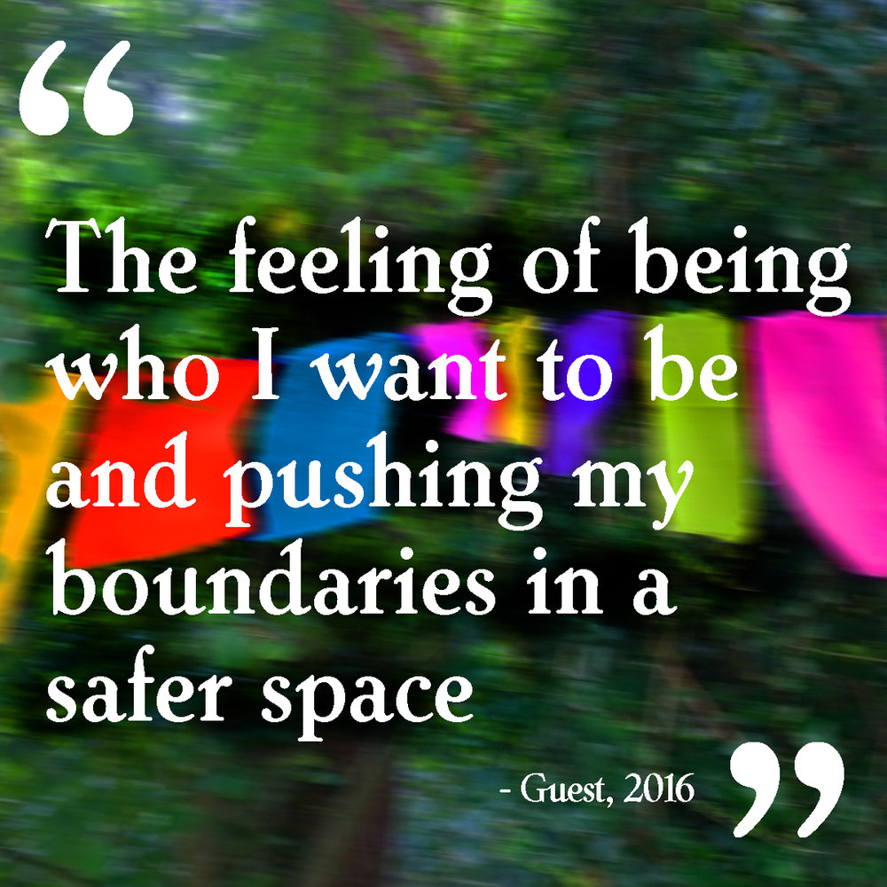 """The feeling of being who I want to be and pushing my boundaries in a safer space"""