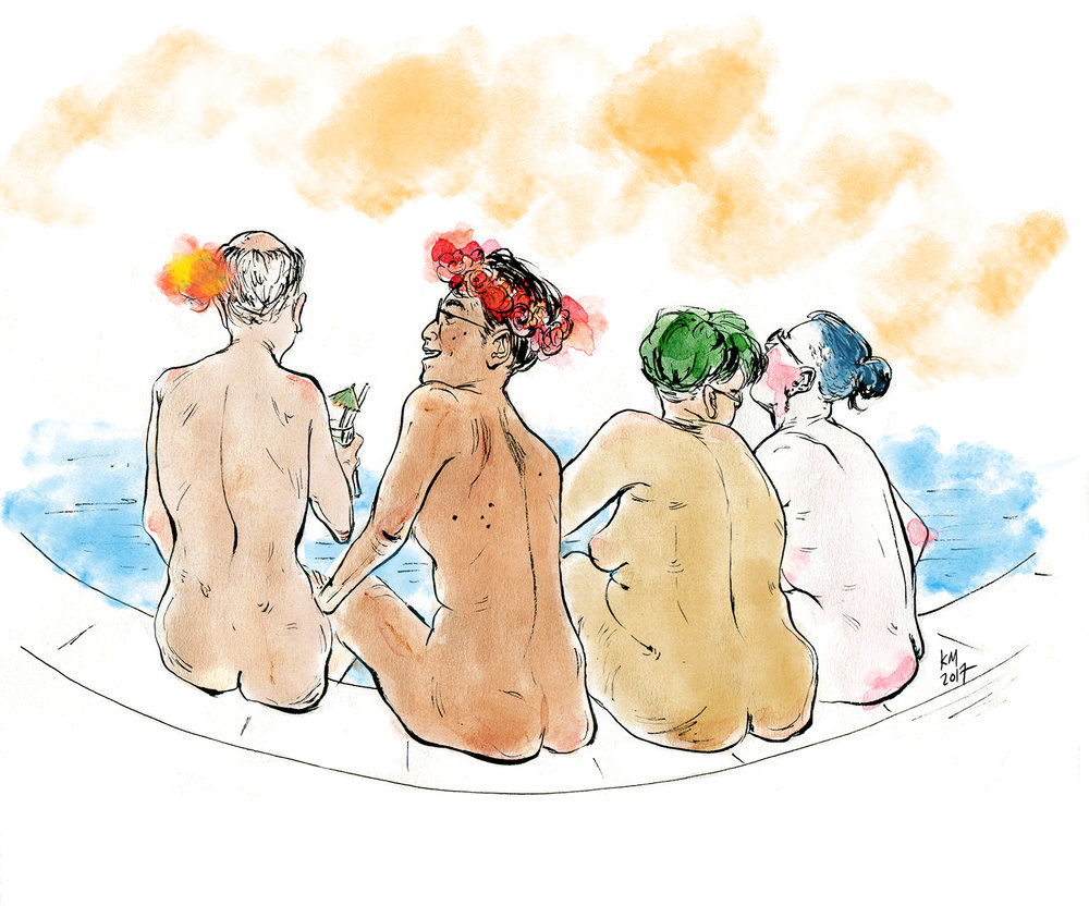[Image description: watercolour illustration of four people of varying body types, smiling and sitting on the edge of a pool]