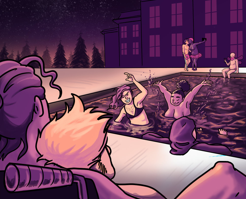 [Image description: a purple and orange illustration of people playing in and lounging by the pool]