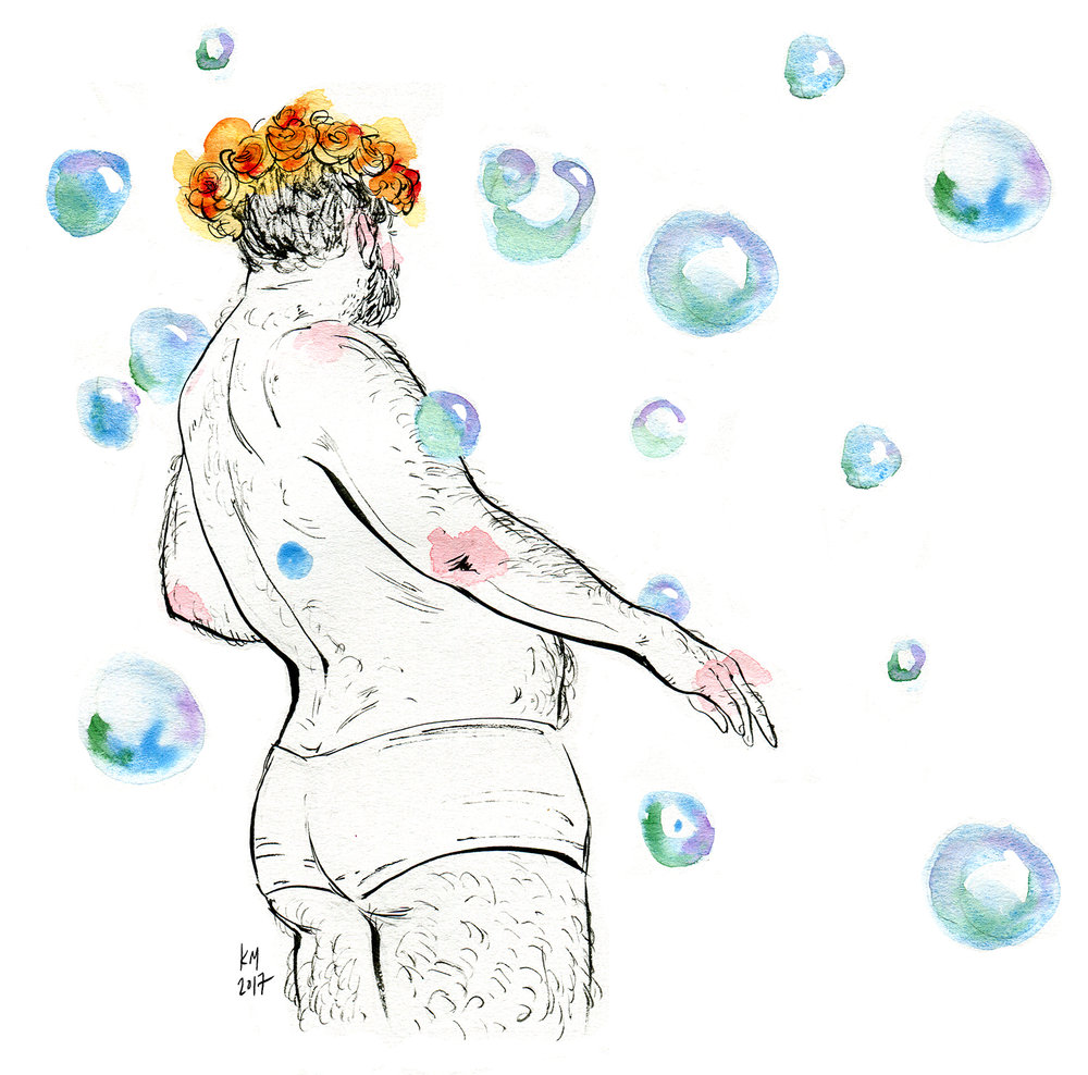 [Image description: a watercolour illustration of a beareded person wearing booty shorts and a flower crown, moving amongst bubbles]