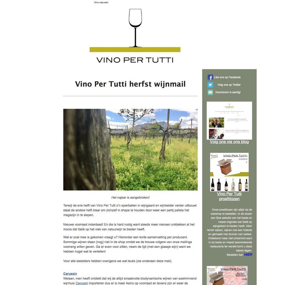 Vino Per Tutti 2017 herfst wijnmail