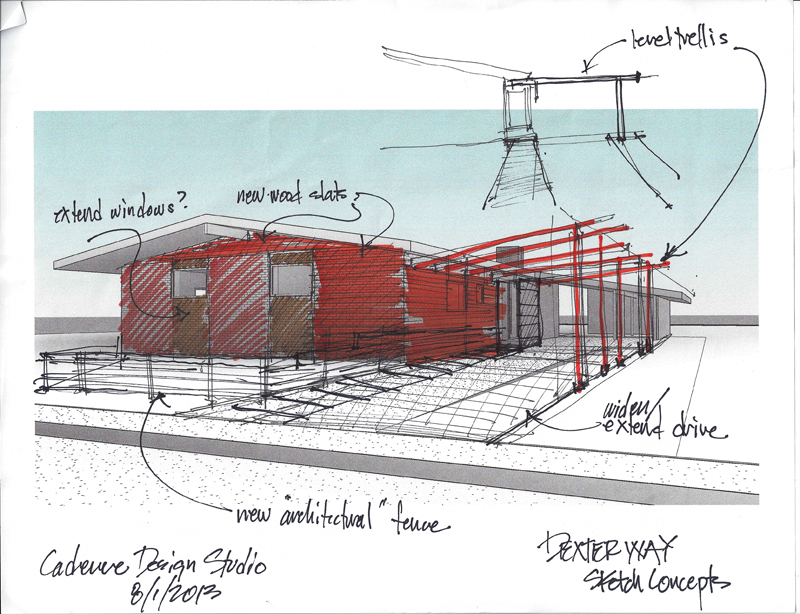 Concept sketch for front of house as seen from the street
