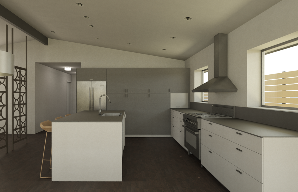 3D computer rendering of the proposed kitchen