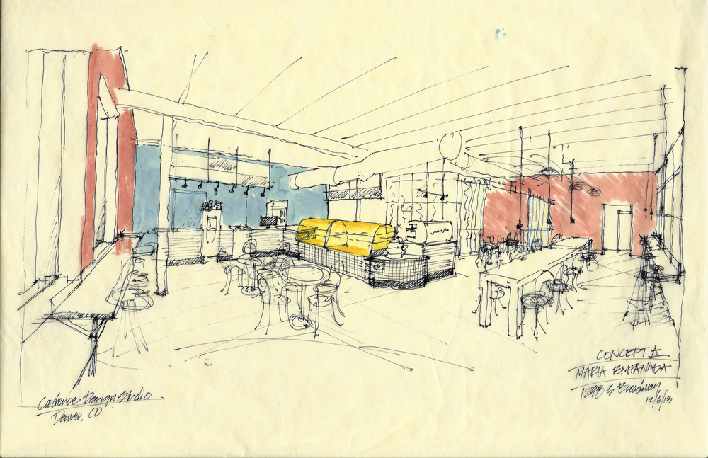 Early hand sketch showing the layout and overall scheme of the space.