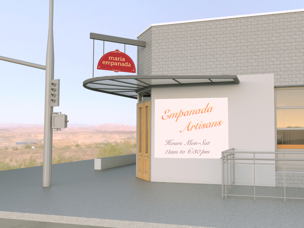 Exterior 3D closeup rendering showing a new door, steel entry canopy and hanging signage configuration.