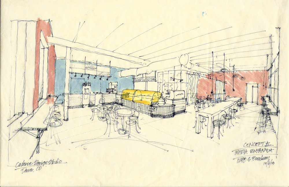 Concept sketch from the front door as you step inside Maria Empanada.  Copyright 2013 Cadence Design Studio