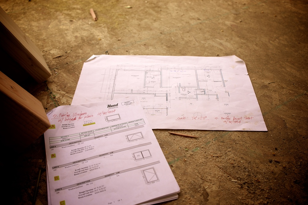 Window rough openings and framing layout sheet at the job site