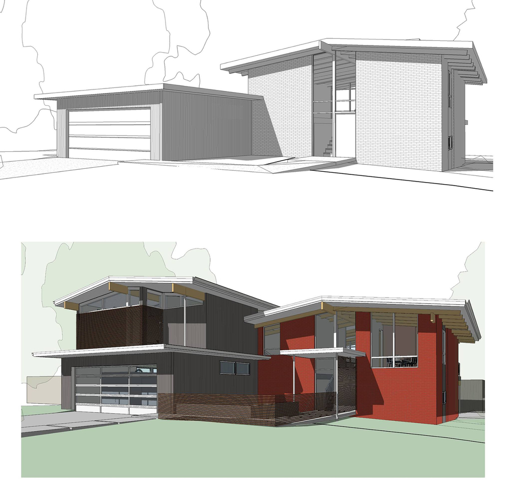 Before and after renderings