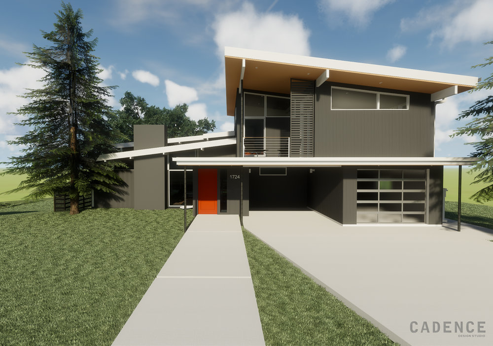 Lynwood - Front - charcoal orange door - Cadence Design Studio.jpg