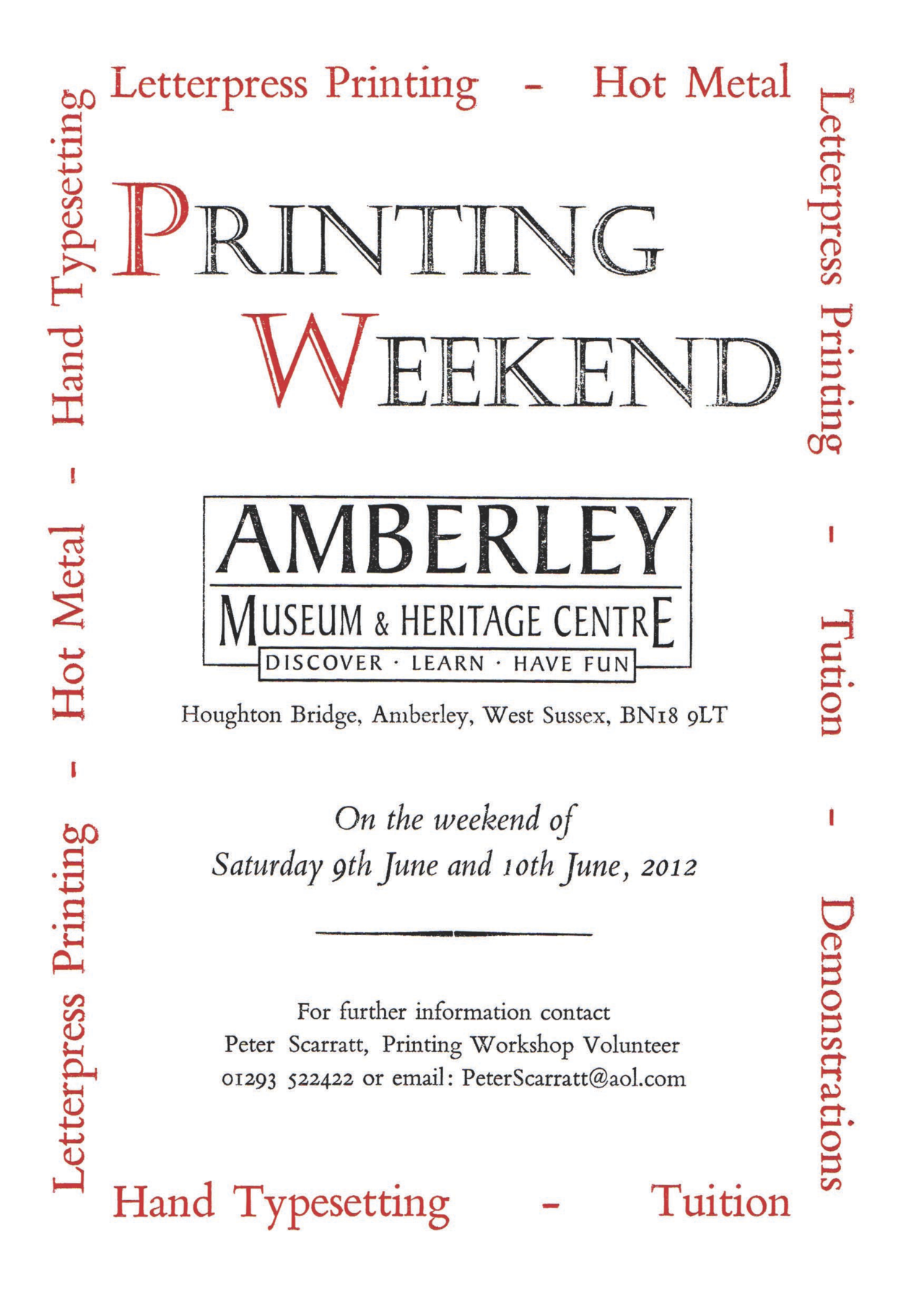 Come and see us at the Amberley Museum Printing Weekend, we'll be there all day on the Sunday.