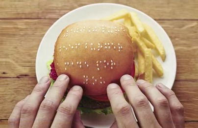 "I spent a couple years working at Wimpy when I was 14. They were actually good times. We saved money and bought a drum machine and started making music. So, I love this Braile Wimpy burger. You'd probably need a bit more space to fit ""Pork bender in a bun"". (via It's Nice That : Wimpy: Braille Burgers)"