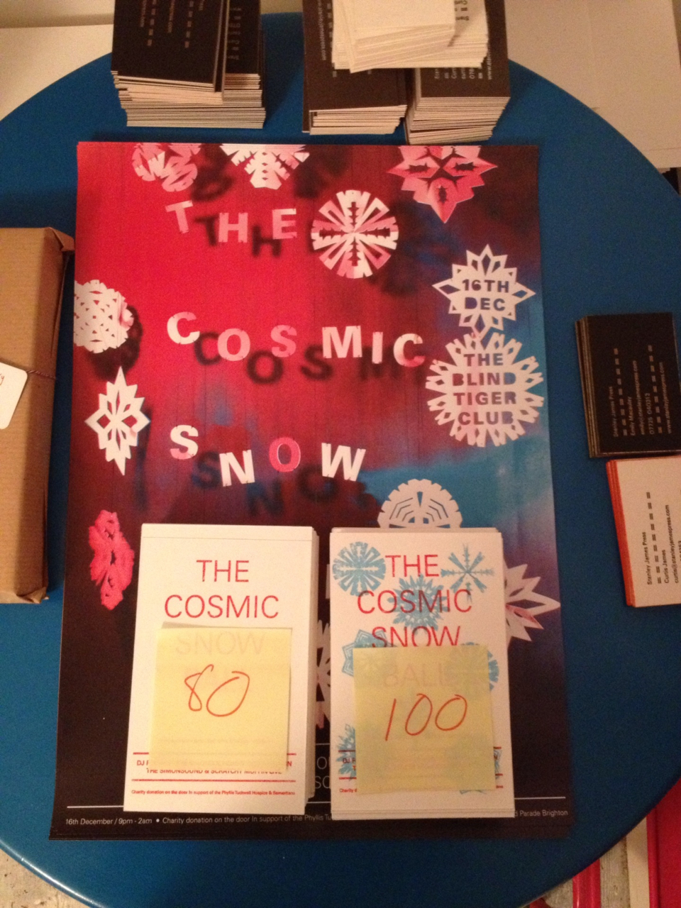 It's been a busy week of making and doing at Stanley James Press. We used the Gocco printer for the first time, to print some flyers for our upcoming charity party The Cosmic Snowball. It's a cool little device for printing postcard size stuff. I'm a bit worried the consumables will run out as its no longer in production. Emily ordered a load of ink, screens and bulbs, so we've got some stock to keep us going. Emily has also been busy putting the finishing touches on her calendar for 2012, which is heading off to the screen printers next week. Oh, and we finally got around to making some letterpress business cards for us. I've been super busy with People Who Do, lots of changes, new challenges and opportunities to leave the safety of my comfort zone, which is good. I'm loving how we've grown the company, next year is going to be very exciting. In between People Who Do, sleeping, trying not to stumble into drying printing and developing negatives, I've been working on the Microsoft Phone Book video, which is almost ready to share. Took some more film photos yesterday, so I need to develop and scan and get them into the film. But, we are really happy with it.