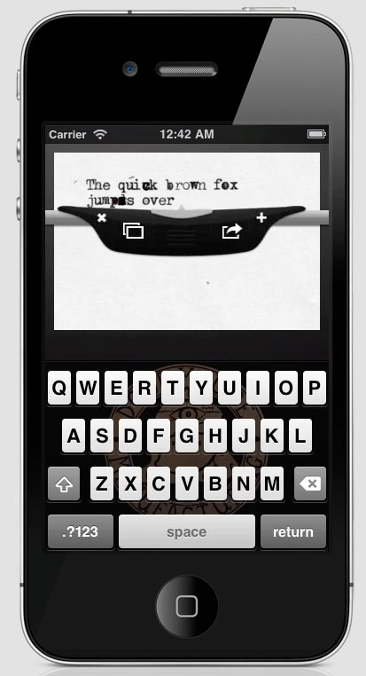 Wouldn't normally mention iPhone apps here, but, this looks cool.  Like a typewriter instagram.   (via  The Amazing Type-Writer App )
