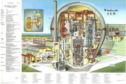 The World's Reactors, No. 32, Windscale AGR, Windscale, Cumberland, UK. Wall chart insert, Nuclear Engineering, April 1961 (by peacay)