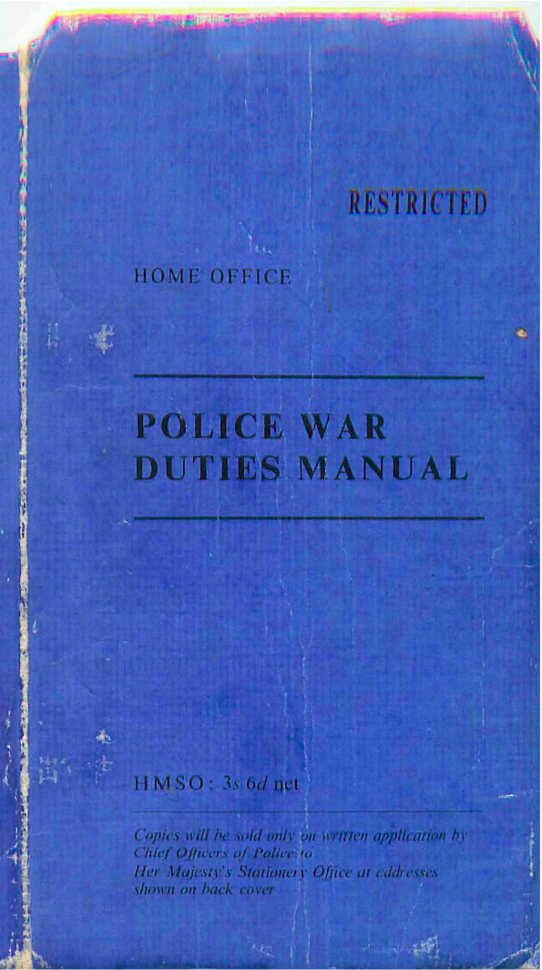 An amazing find from my travels up north - a Police War Duties Manual from the 50's.  Lot's of cold war stuff to get me excited.   See the whole book  here .