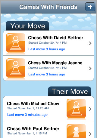 Loving Chess with friends on the iPhone.  It's free, and it enables you to pick random people to play against or invite friends.  There is something quite nice about a slow game of chess. Chess With Friends (App Store Link)