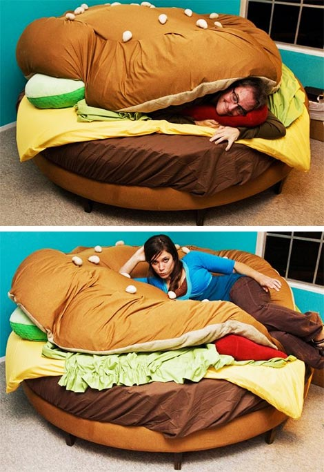 I'd never get to sleep in this bed - I'd just be hungry all the time. The Hamburger Bed | Furniture | Home