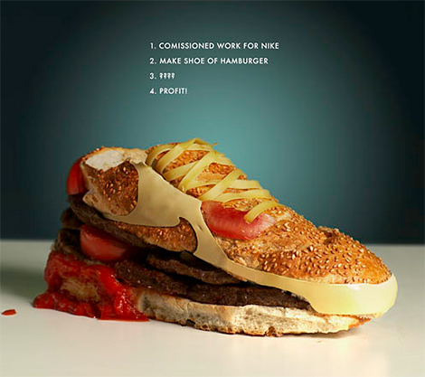 How cool is this -  Hemmendorff  created this burger Air Max 90 as part of a Nike project.     In the tradition of material innovation of AM 90, i constructed a running shoe using the most powerful, must durable and most delicious material known to man: hamburger.      Nike Air Max 90 Burger