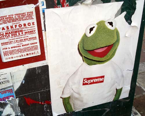 Ultra cool clothing label Supreme give the green frog some skate love.  Don't reckon your chances at getting one though. tantramar: Kermit Looking Supreme
