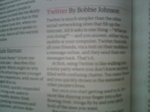 Twitter in the guardian this morning